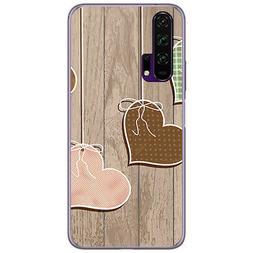 Coque Gel TPU Pour Huawei Honor 20 Pro Design Coeurs Bois De