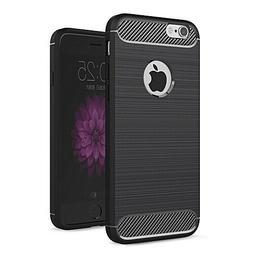 Coque IPHONE 6s Silicone TPU Noire Fibre De Carbone Effet Al