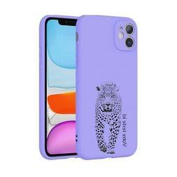 Coque mauve Iphone 11 leopard jungle personnalisee